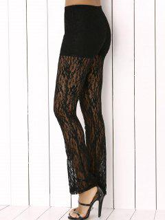 Lace See Through Pants - Black S