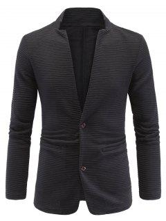 Elbow Patch Ribbed Long Sleeve Blazer - Black 2xl