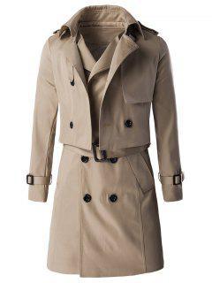 Epaulet Design Buckle Sleeve Coat And Longline Belted Waistcoat Twinset - Khaki M