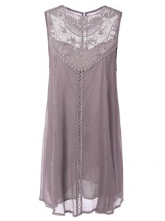 Embroidered Lace Insert Plus Size Casual Sleeveless Dress - Pink Xl