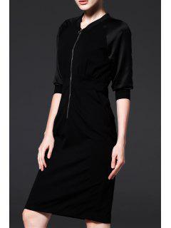 Front Zippered Sheath Dress - Black S