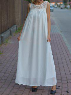 Floral Pattern Lace Splicing Sleeveless Maxi Dress - White Xl