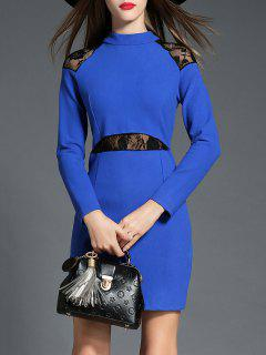 Long Sleeve Lace Insert Dress - Blue M