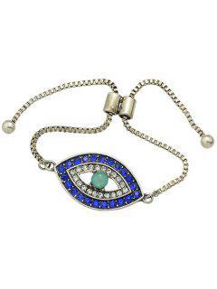 Rhinestone Alloy Eye Shape Bead Bracelet - Silver