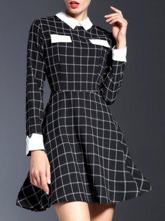 Contrasting Collar Long Sleeve Check Dress - Black S
