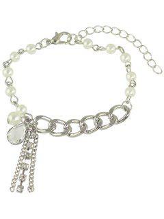 Artificial Pearl Water Drop Charm Bracelet - Silver
