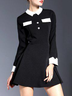 Contrasting Collar Long Sleeve Mini Dress - Black M