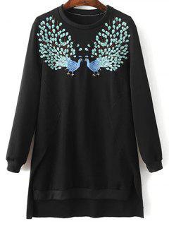 High Low Embroidered Sweatshirt - Black S