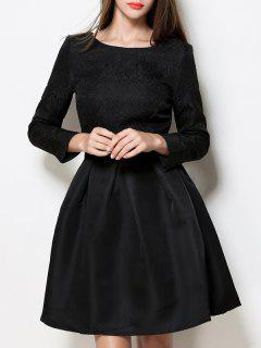Boat Neck A Line Jacquard Dress - Black L