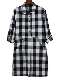 Long Sleeve Plaid Shirt Dress - White And Black S