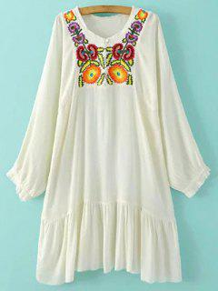 Embroidered Long Sleeve Flounced Dress - White S