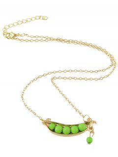 Peasecod Alloy Beaded Pendant Necklace - Golden