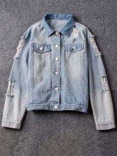 Camisa De Cuello Rasgado Jean Jacket - Azul Claro M