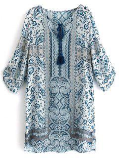 Printed V Neck 3/4 Sleeve Dress - L