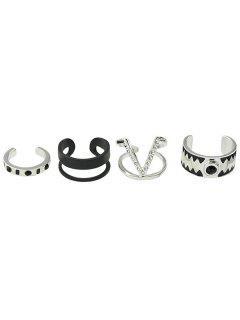 Punk Rhinestone Alloy V-Shaped Cuff Rings - Silver One-size