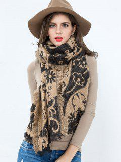 Floral Pattern Tassel Long Wrap Shawl Scarf - Black And Brown