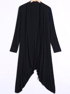 Long Sleeve Irregular Hem Long Cardigan - Black M