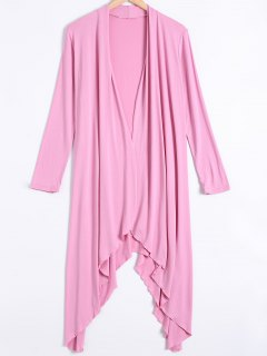 Long Sleeve Irregular Hem Long Cardigan - Pink M