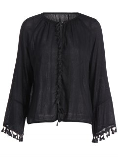 Round Neck Long Sleeve Fringe Blouse - Black