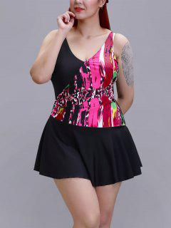 Plus Size Printed One-Piece Swimsuit - Pink Xl