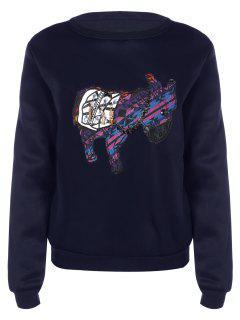 Long Sleeve Patch Design Sweatshirt - Bleu Foncé M