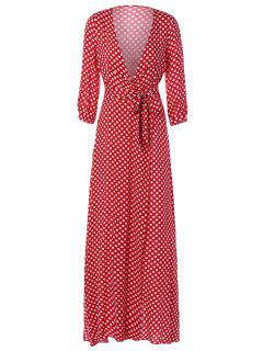 Polka Dot Maxi Plunge Dress - Red S