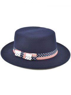Star Striped Bowknot Flat Top Fedora Hat - Purplish Blue