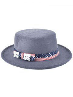 Star Striped Bowknot Flat Top Fedora Hat - Gray