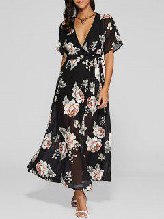 Haute Slit Maxi Floral Wrap Dress - Noir S