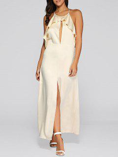Open Back Slit Evening Dress - Golden S
