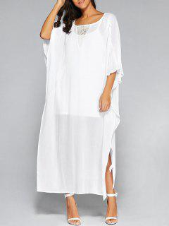 High Slit Batwing Sleeve Kaftan Dress And Cami Top - White S