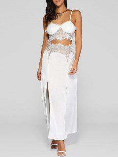 Lace Spliced Cut Out Cami Midi Dress - White L