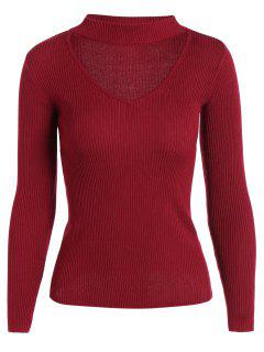 Ribbed Choker Sweater - Wine Red S