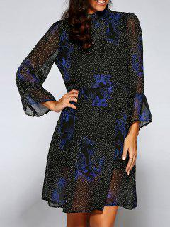 Polka Dot See-Through Robe Droite - Noir
