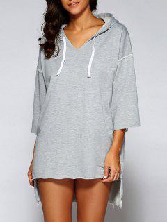 High Low Mini Hoodie Dress - Gray