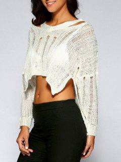 Cutout Ripped High Low Sweater - Off-white