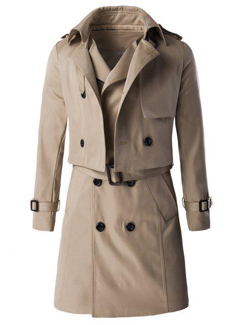 Epaulet design Buckle Manteau manches et palangre Belted Waistcoat Twinset - Kaki M Mobile