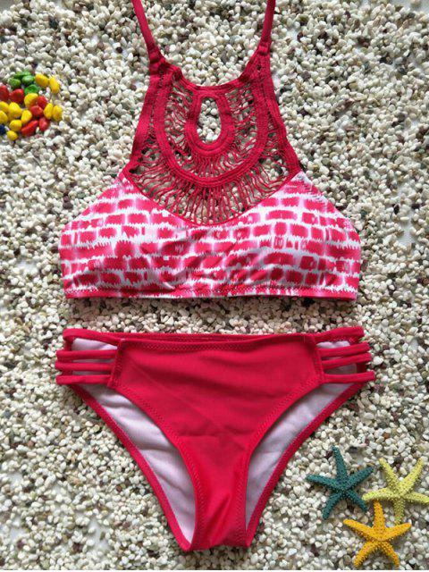 fancy Cutout Halter Lattice Bikini - RED S Mobile