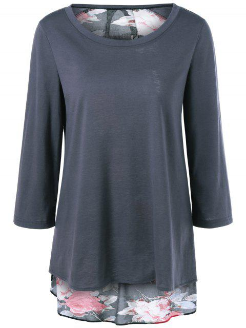women Flower Pattern Layered Blouse - DEEP GRAY M Mobile