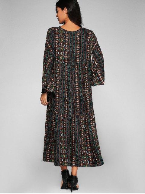 affordable Bell Sleeve Tribal Print Shift Dress - PURPLISH BLUE L Mobile