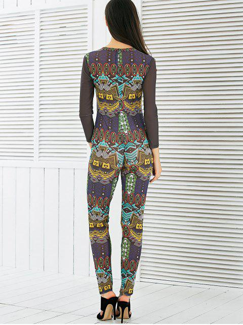 trendy See-Through Mesh Spliced Printed Jumpsuit - COLORMIX S Mobile