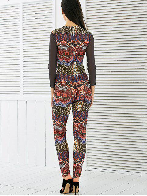 fashion Long Sleeve Mesh Spliced Printed Jumpsuit - MULTI L Mobile