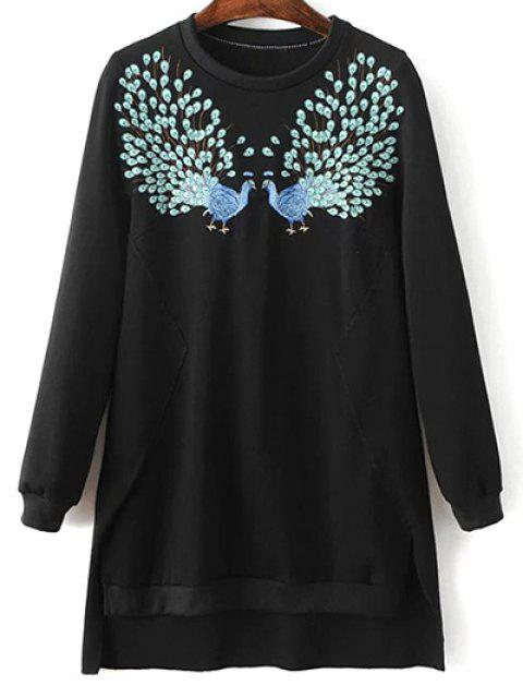 shop High Low Embroidered Sweatshirt - BLACK S Mobile