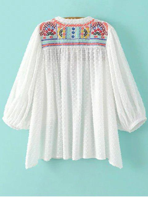 affordable Stand Neck Embroidered Sequins Blouse - WHITE M Mobile