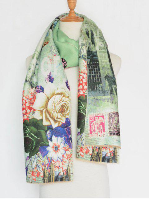 shops Vintage Big Flower Printing Cotton Shawl Scarf - GREEN  Mobile