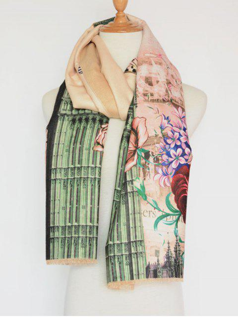 fashion Vintage Big Flower Printing Cotton Shawl Scarf - APRICOT  Mobile