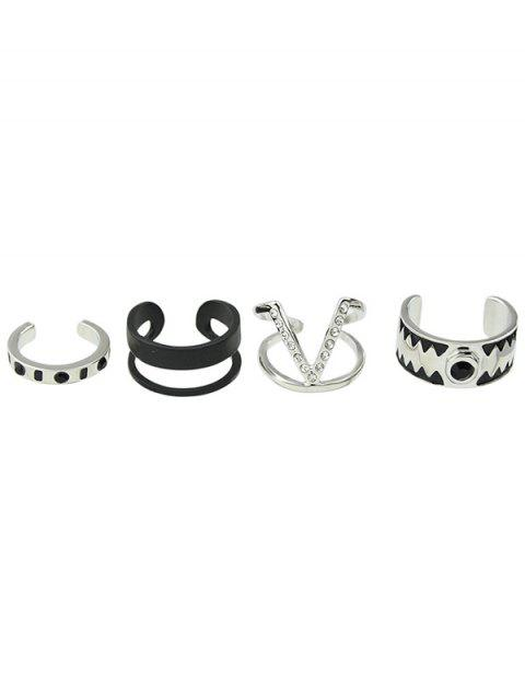online Punk Rhinestone Alloy V-Shaped Cuff Rings - SILVER ONE-SIZE Mobile