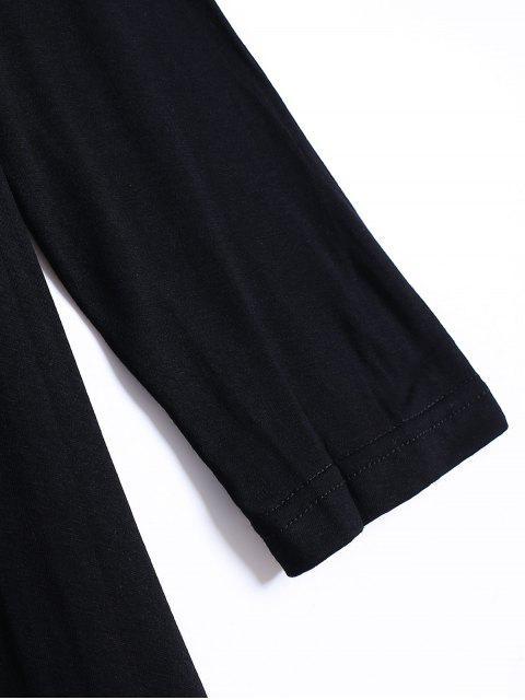 trendy Long Sleeve Irregular Hem Long Cardigan - BLACK M Mobile