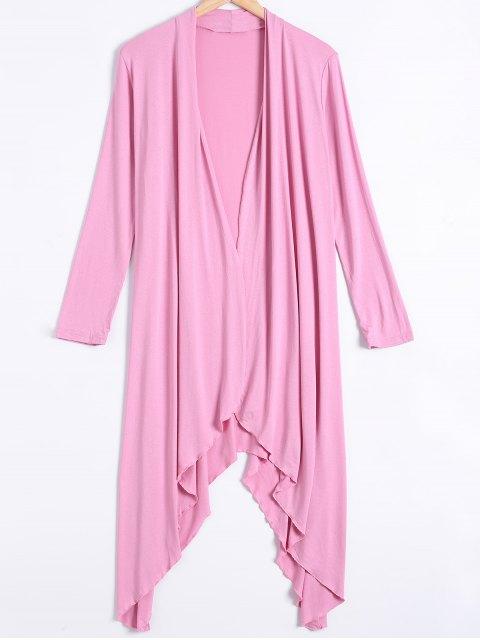 unique Long Sleeve Irregular Hem Long Cardigan - PINK M Mobile