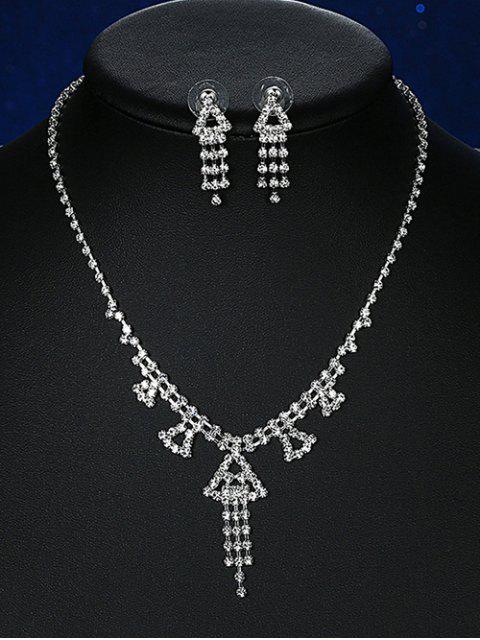 Sistema de la joyería de la boda triángulo Rhinestoned - Plata  Mobile